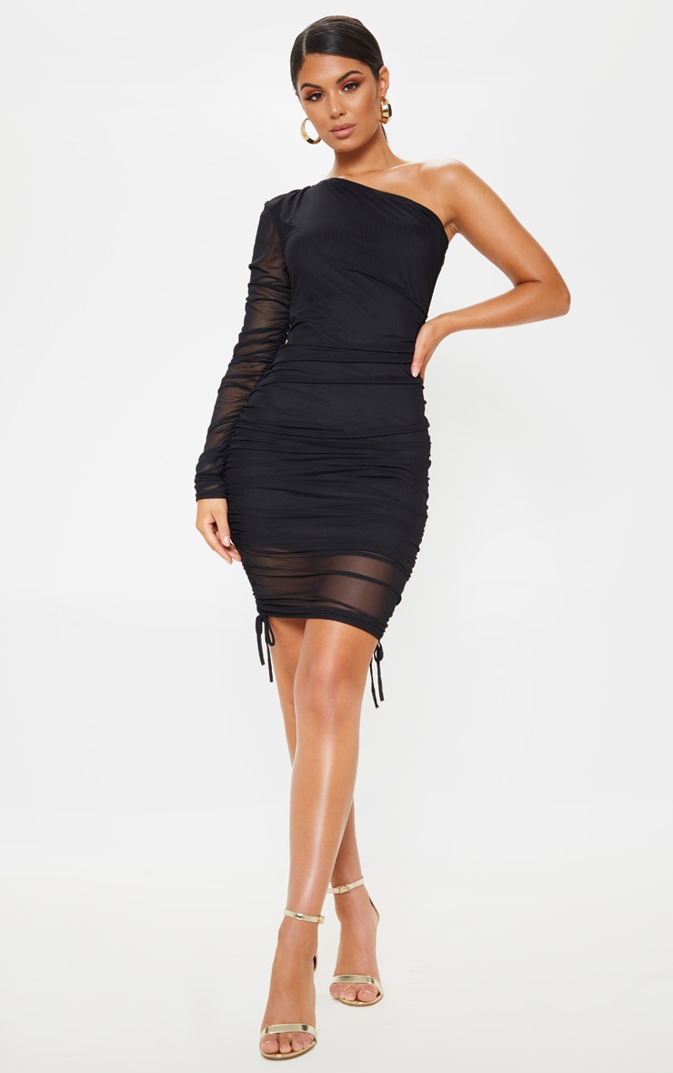 Black Mesh Ruched One Shoulder Bodycon Dress 1