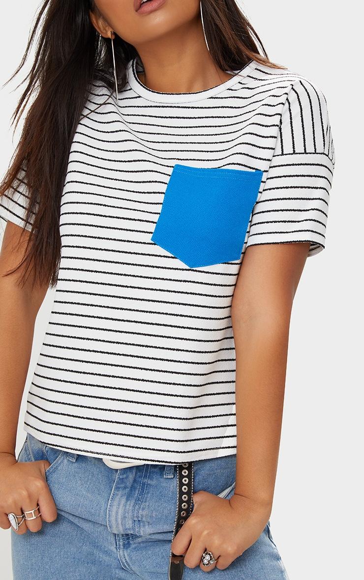 White Pocket Contrast Stripe T Shirt 5