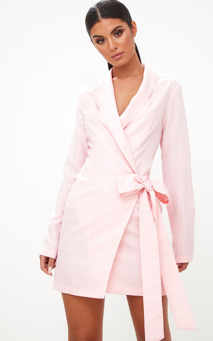 Pink Checked Blazer Dress 1