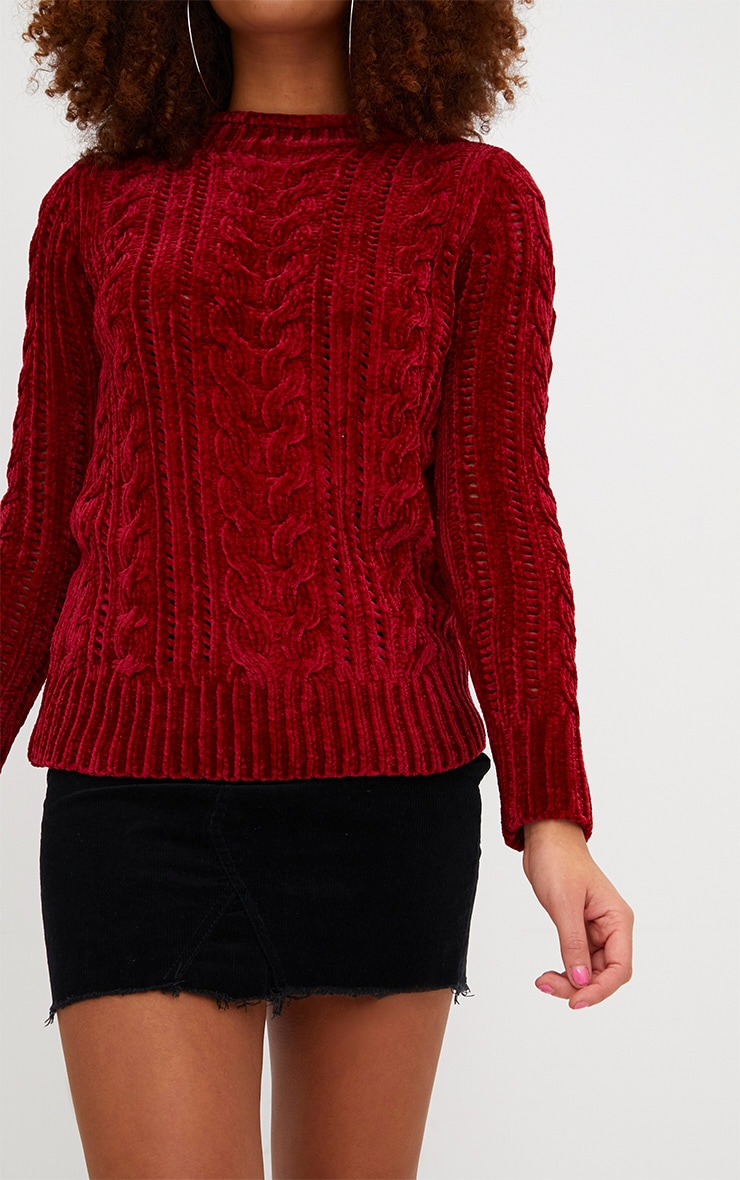 Red Chenille Cable Jumper 5