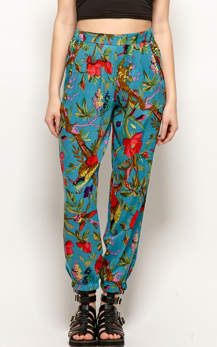 Tilly Turquoise Tropical Print Trousers 3