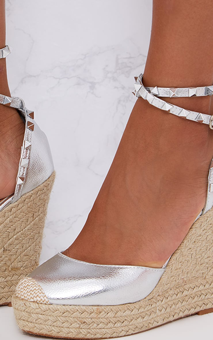 Silver Studded Strap Wedges 4