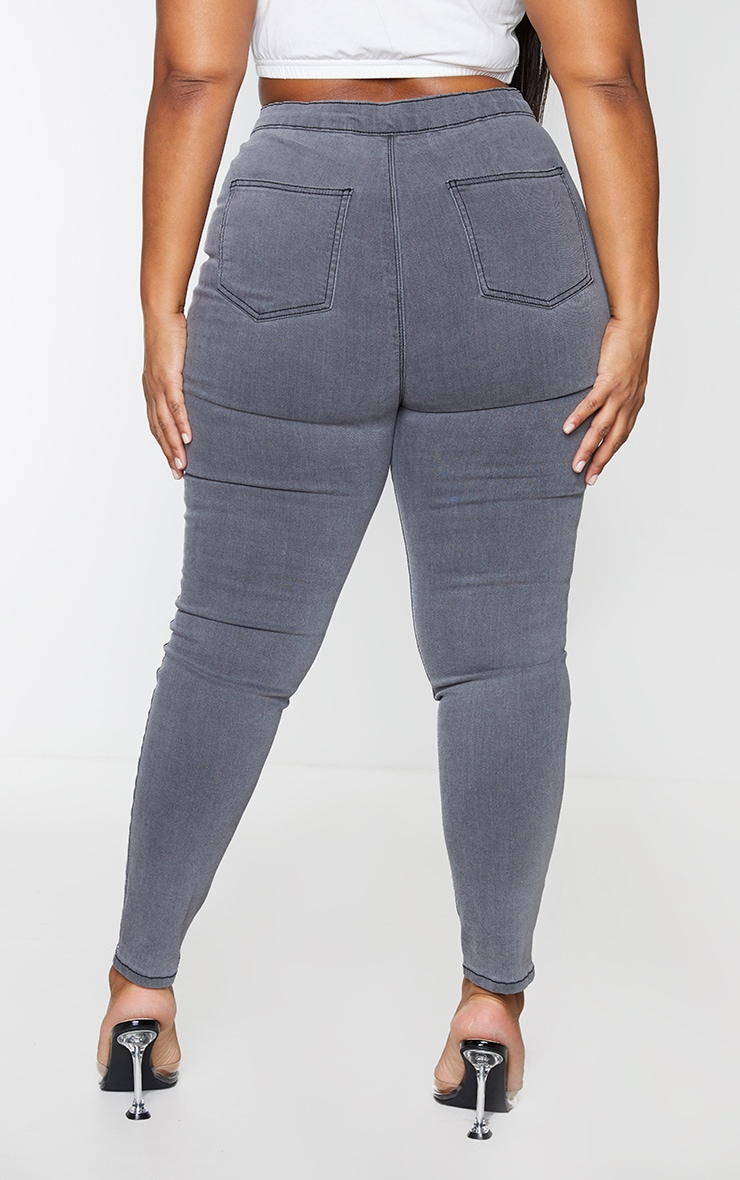 PRETTYLITTLETHING Plus Grey Washed Rip Distressed Disco Skinny Jeans 3