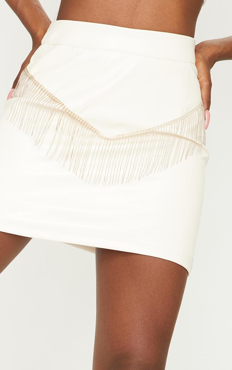Tall Cream Chain Fringing PU Mini Skirt 5