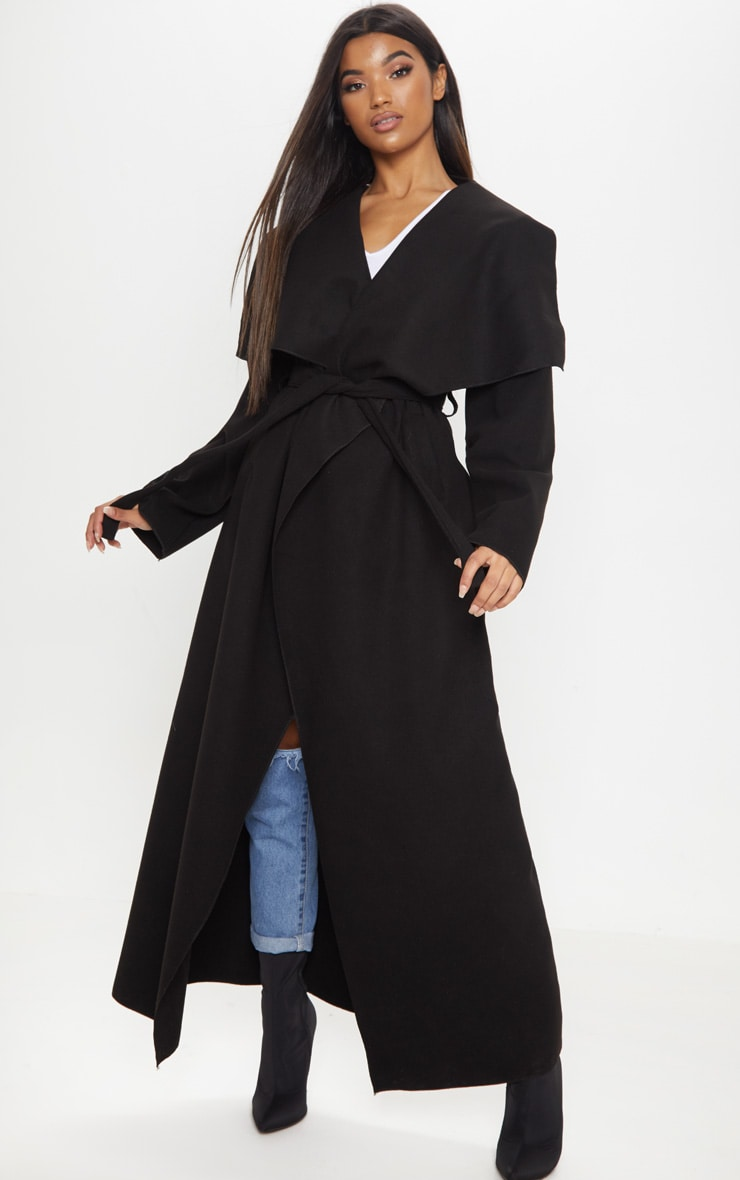 Black Maxi Length Oversized Waterfall Belted Coat 4