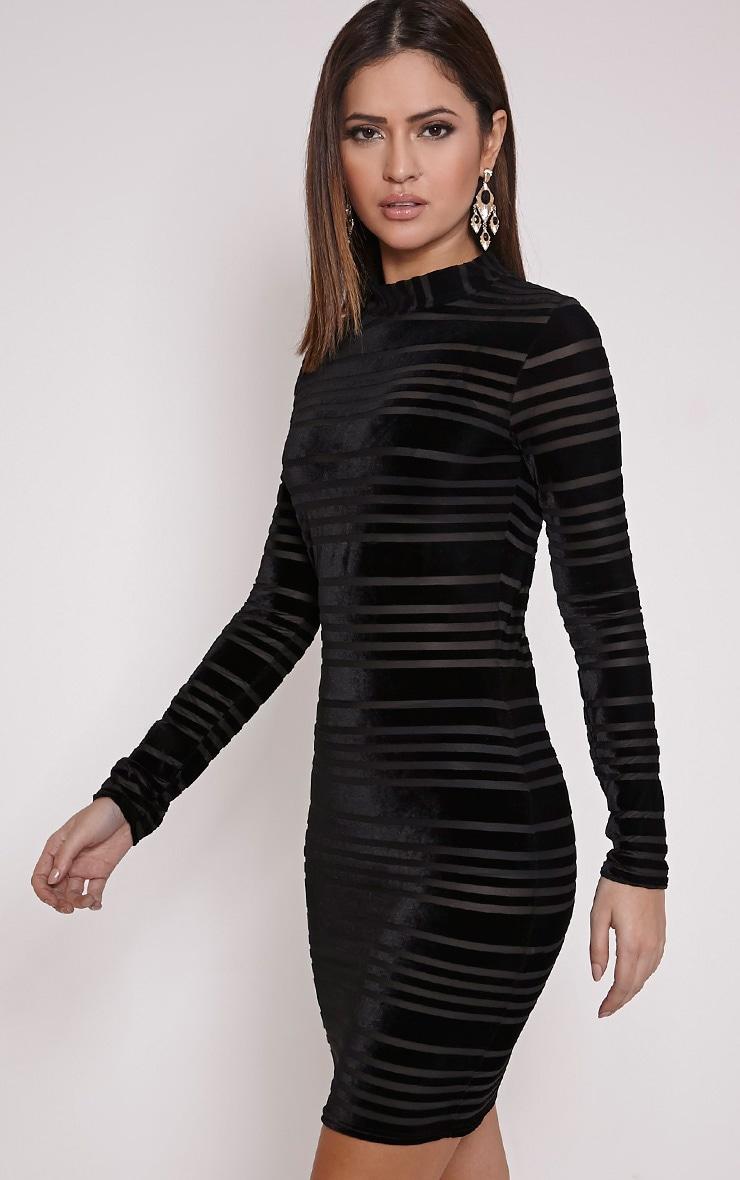 Faye Black Velvet Stripe Bodycon Dress 3