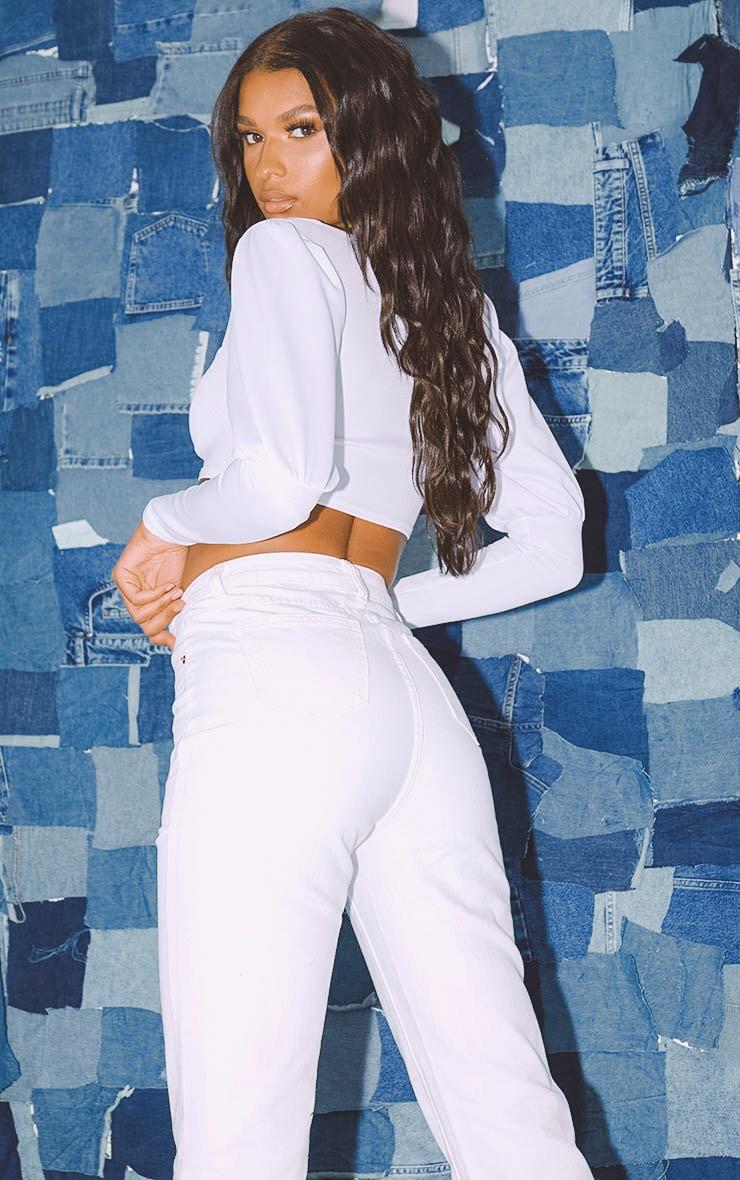 PRETTYLITTLETHING White Straight Leg Jeans  5