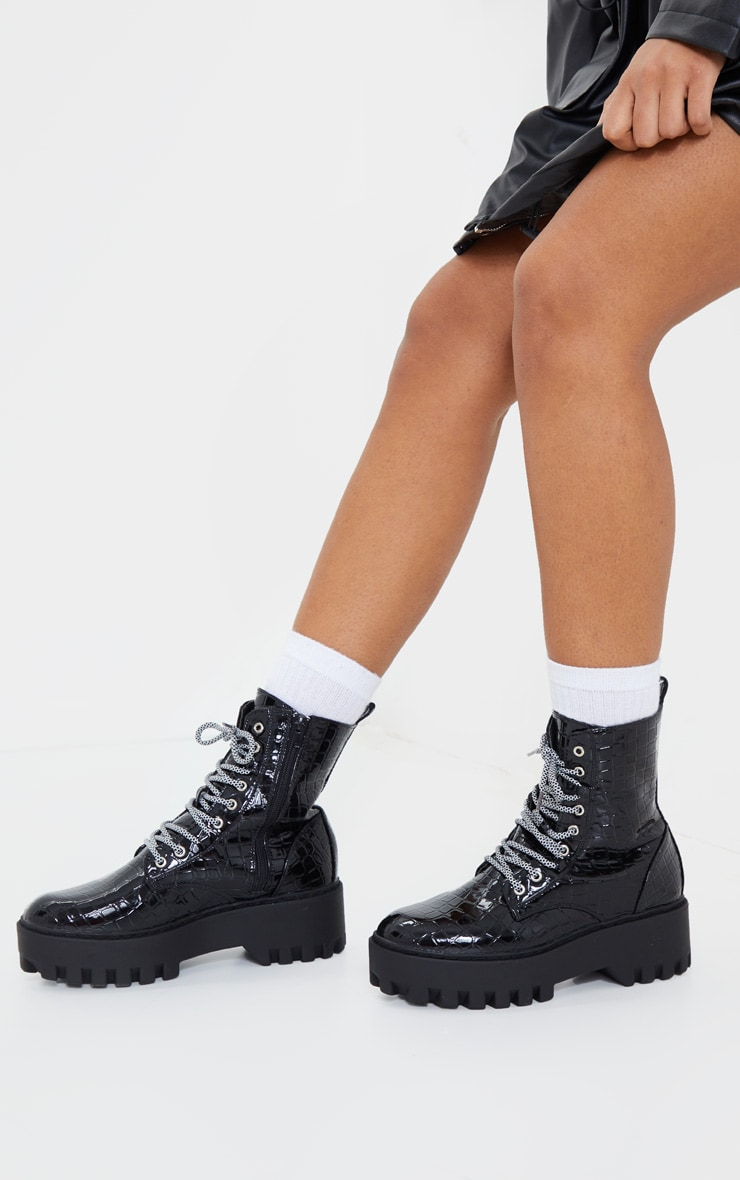 Black Croc PU Hiker Lace Up Chunky Boots 2