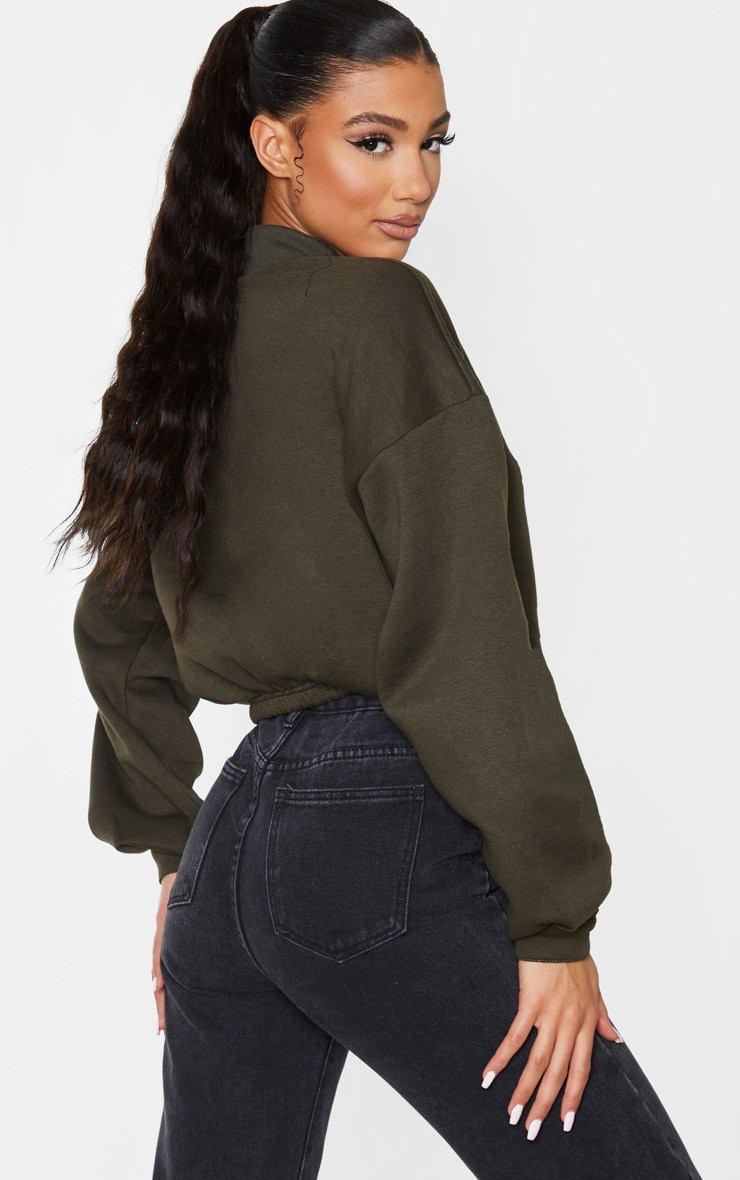 Khaki Funnel Neck Pocket Front Sweater 2