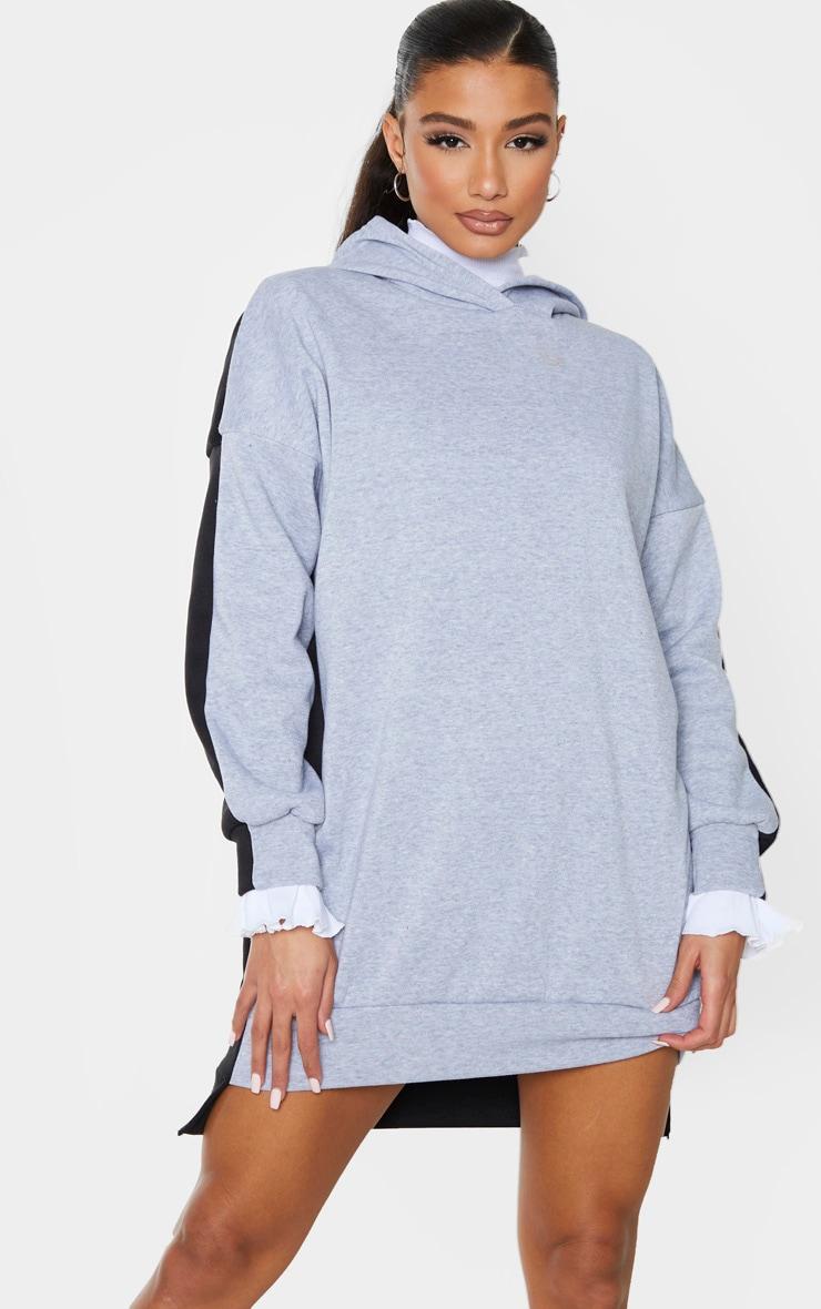 Grey Contrast Oversized Hoodie Jumper Dress 3