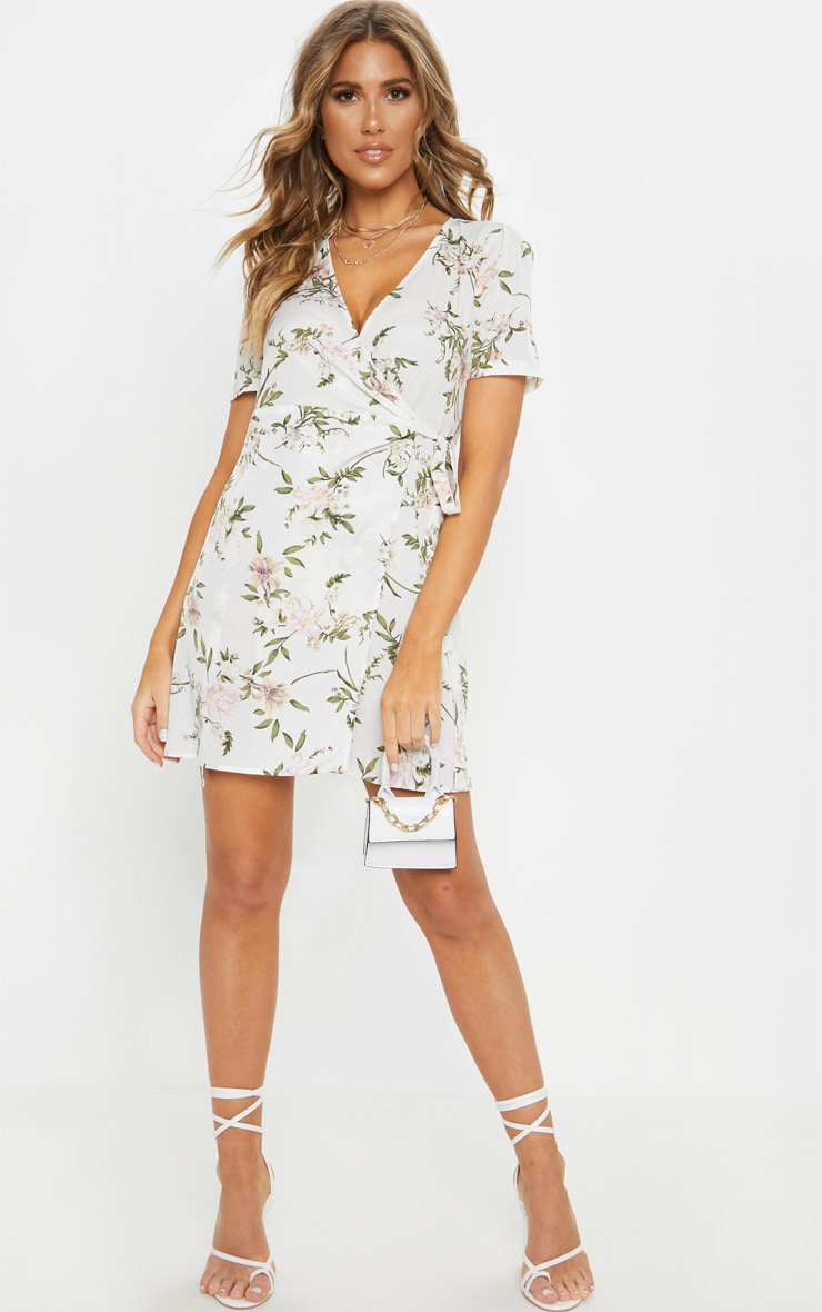 White Floral Print Tea Dress 4
