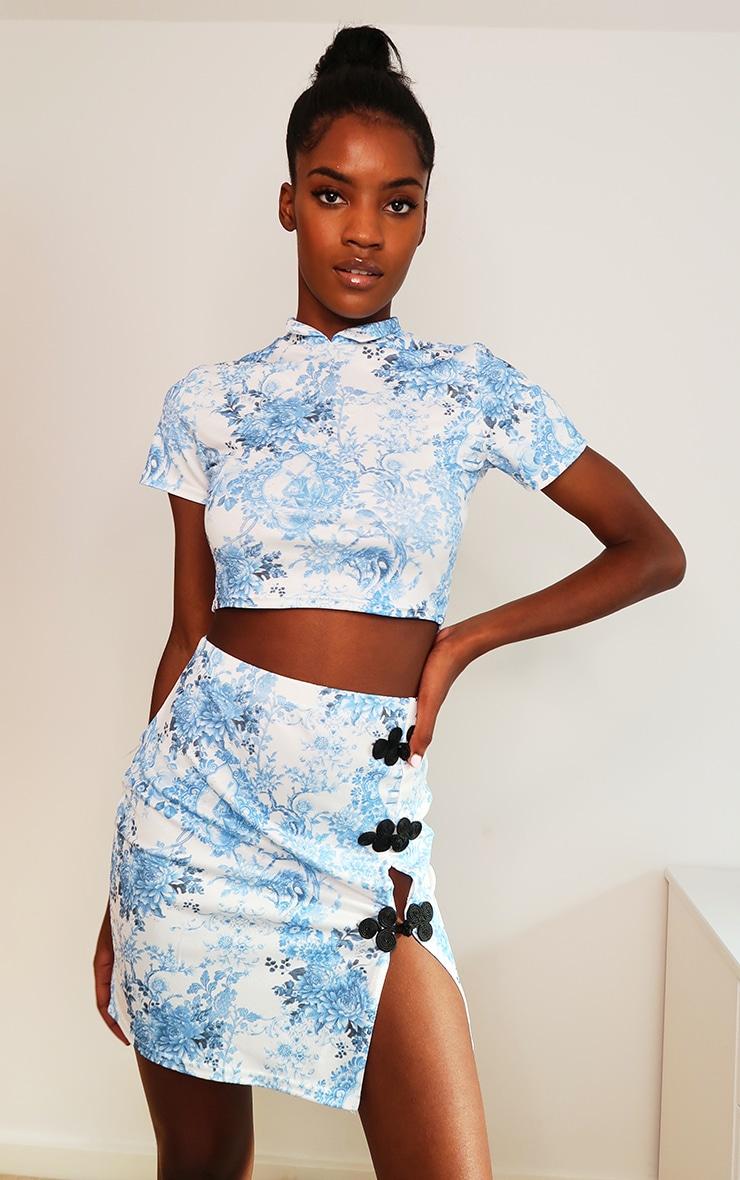 Blue Oriental Print High Neck Short Sleeve Crop Top 1