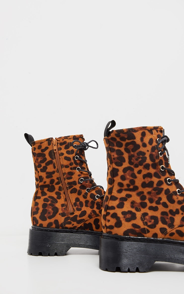 Chunky Leopard Print Sole Lace Up Ankle Boot 4