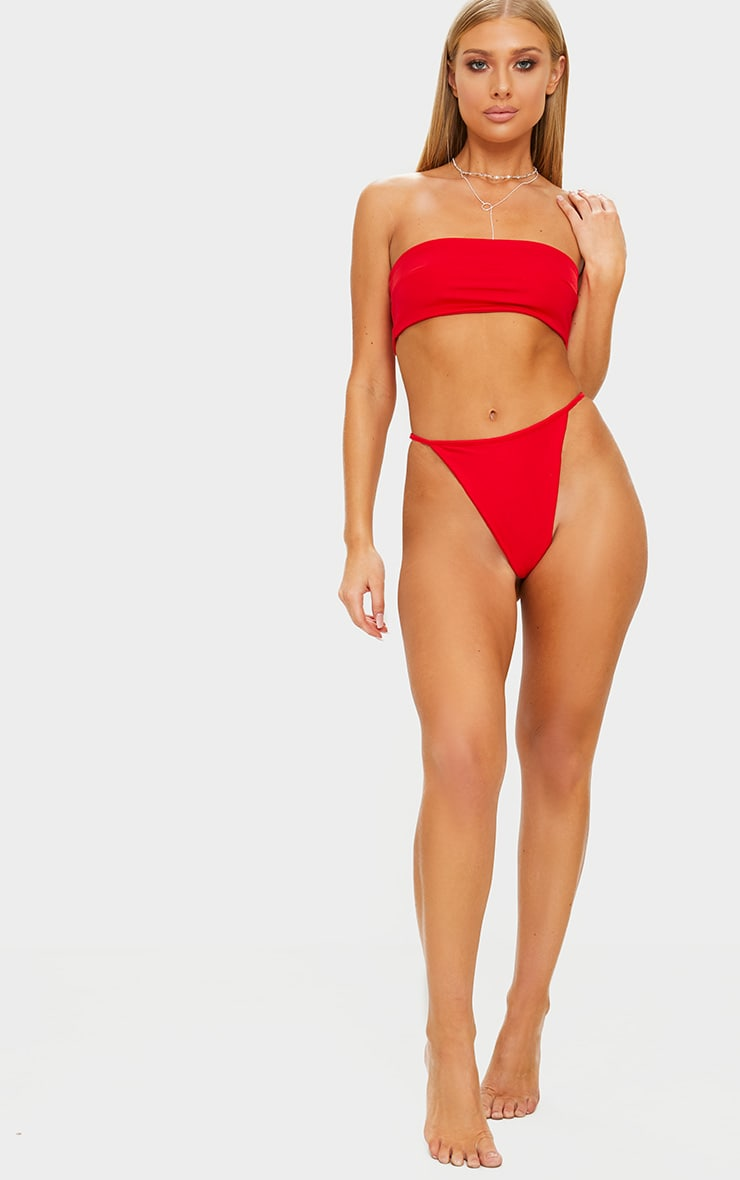Red Mix & Match String Thong Bikini Bottom 4
