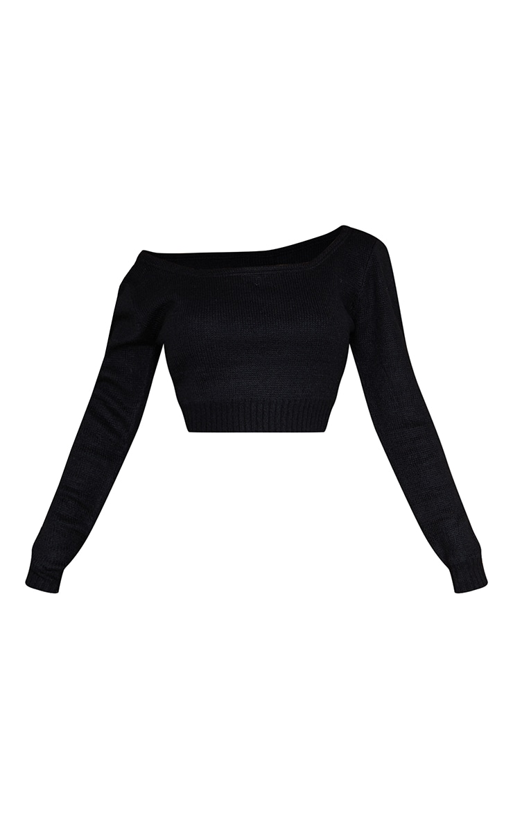 Adelaida Black Off Shoulder Knitted Crop Jumper  5