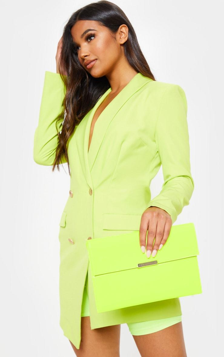 Neon Lime Basic Clutch Bag 1