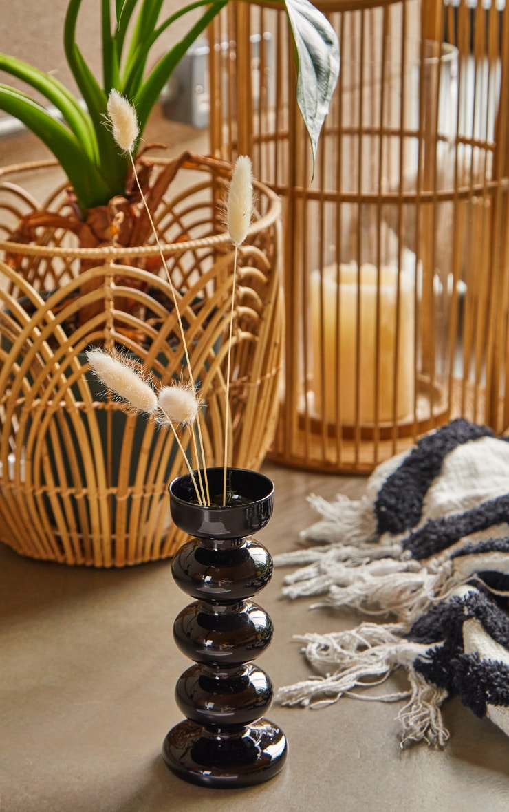 Black Tall Ripple Bobble Glass Vase 1