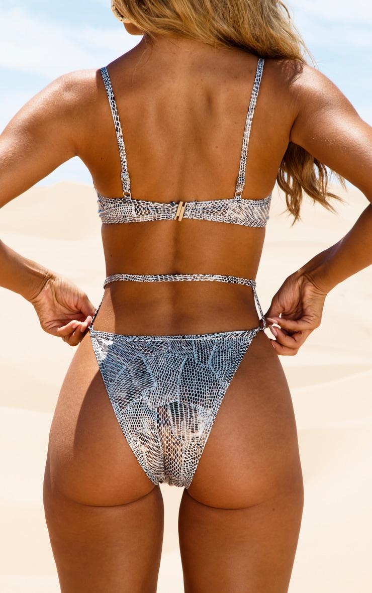 White Harness Textured Lizard Bikini Bottom 4