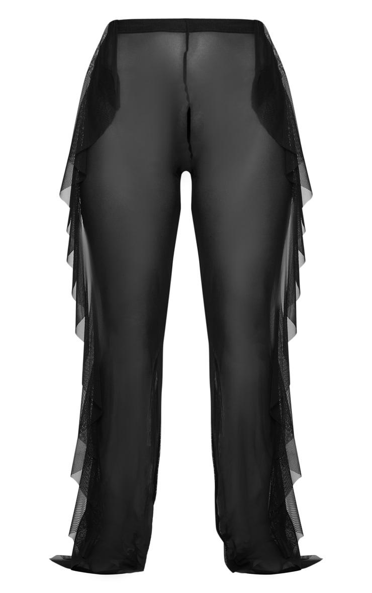 Pantalon de plage noir en mesh volanté  3