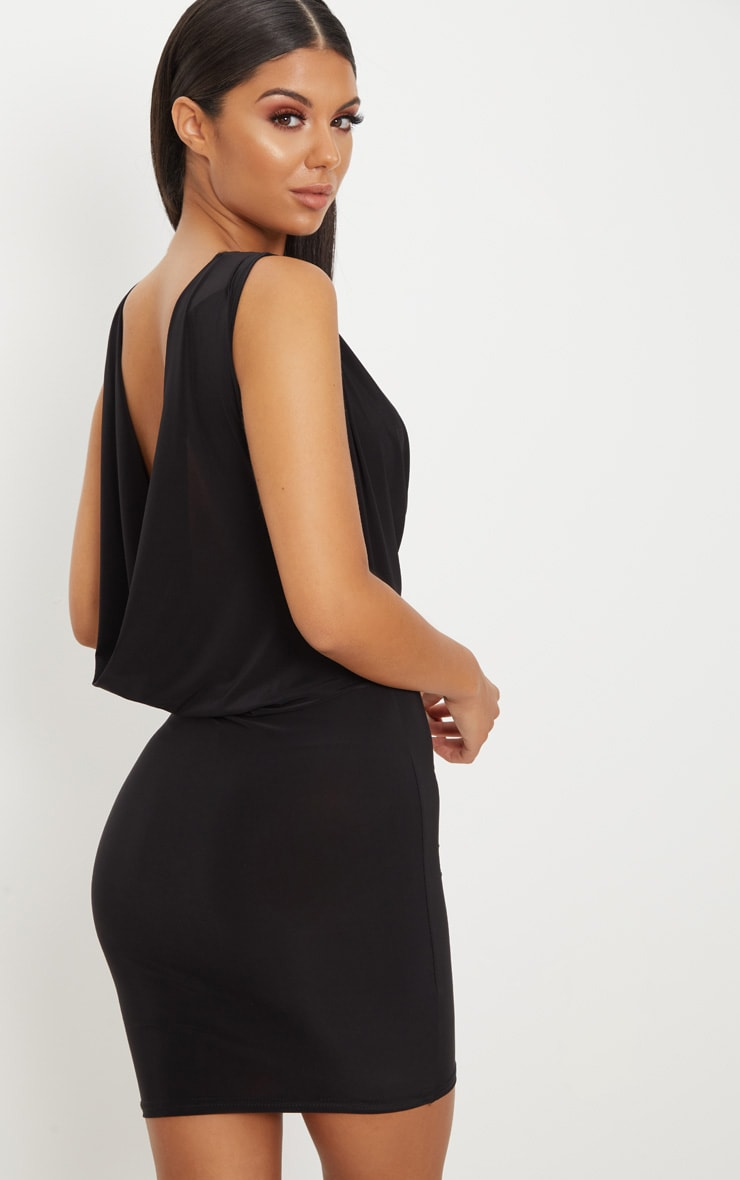 Black Slinky Extreme Cowl Front & Back Sleeveless Bodycon Dress 1