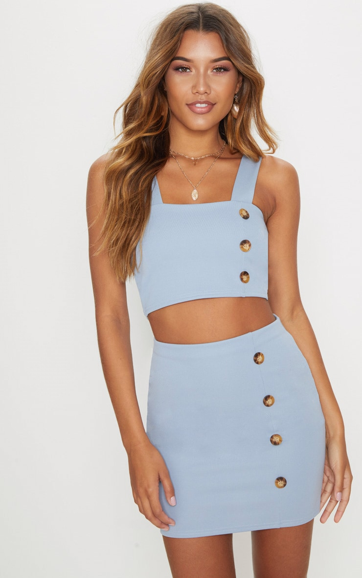 Dusky Blue Crepe Button Detail Square Neck Crop Top 1