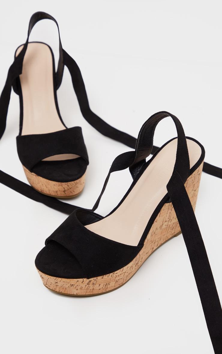 Black Ankle Tie Up Cork Wedge Sandal  4