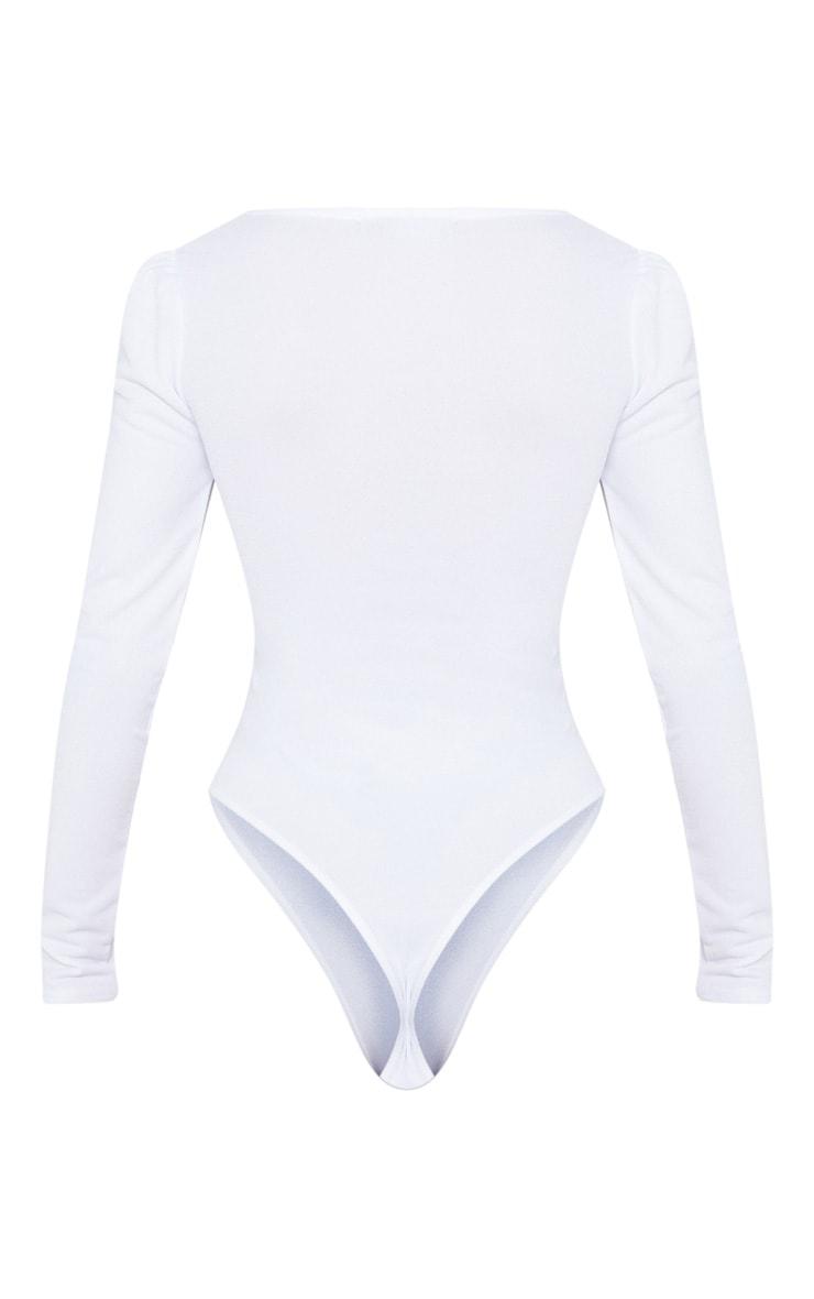 White Long Sleeve Plunge Bodysuit 4