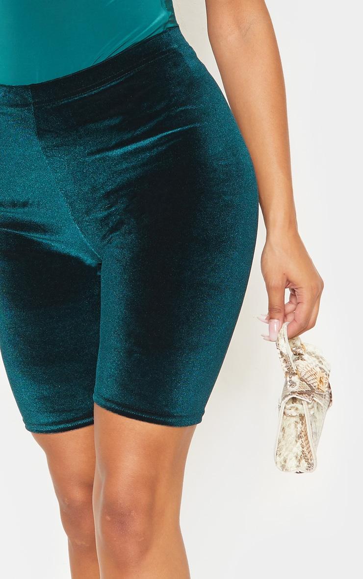 Emerald Green Basic Velvet Cycle Shorts 6