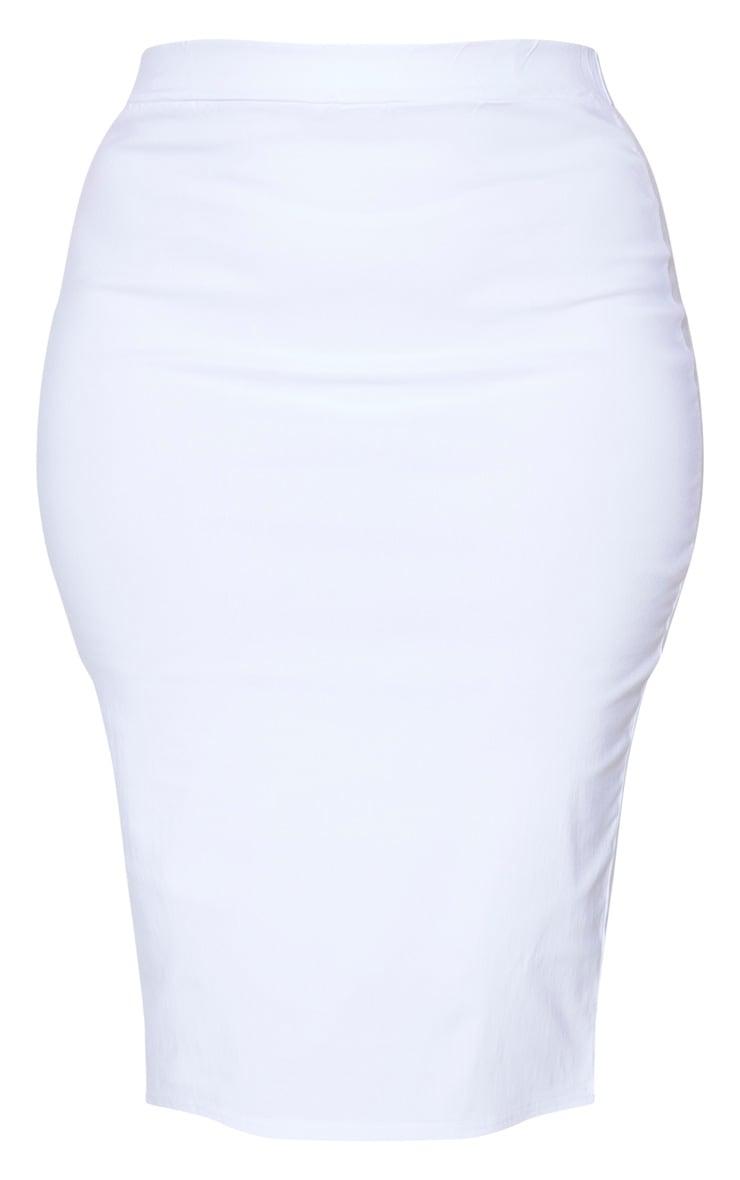 Plus White Stretch Seam Detail Midi Skirt 5