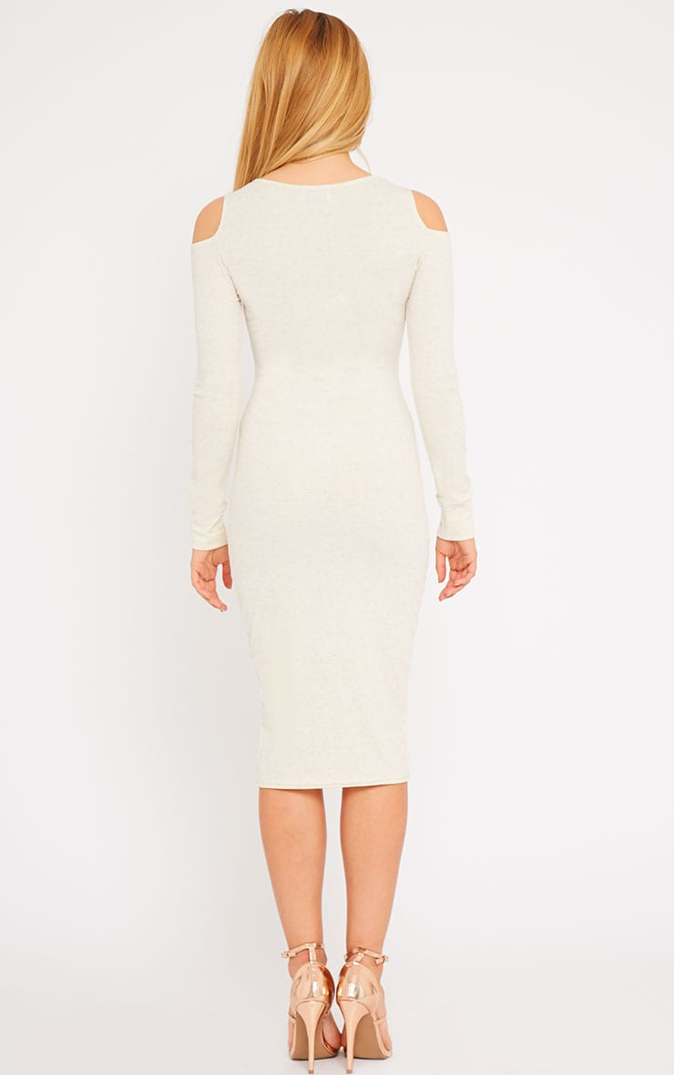 Signe Stone Ribbed Cut Out Shoulder Midi Dress 2