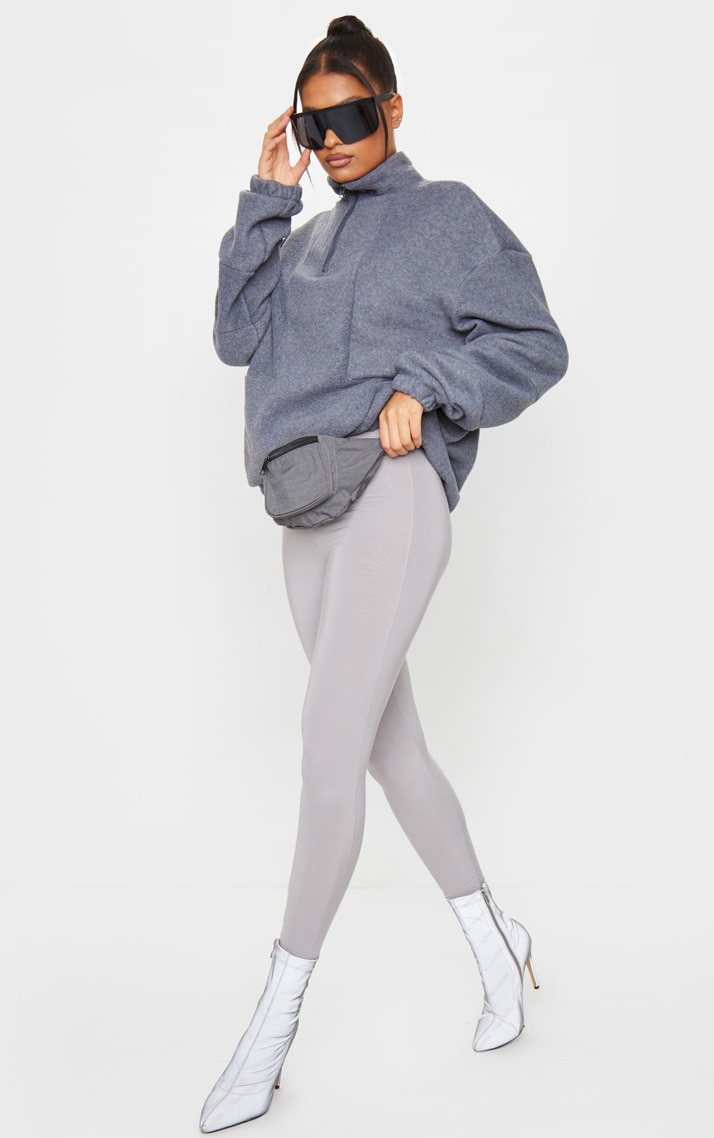Charcoal Grey Fleece Zip Front Oversized Sweater 3