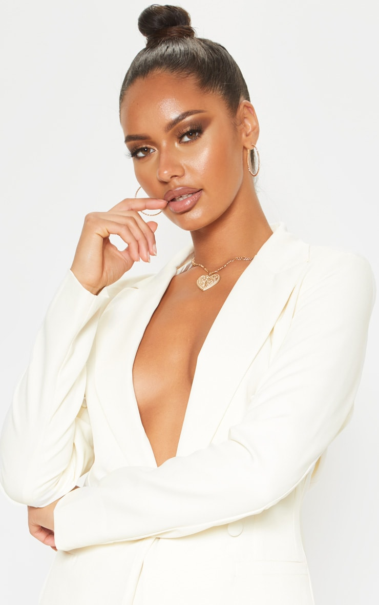 Cream Double Breasted Woven Blazer 5