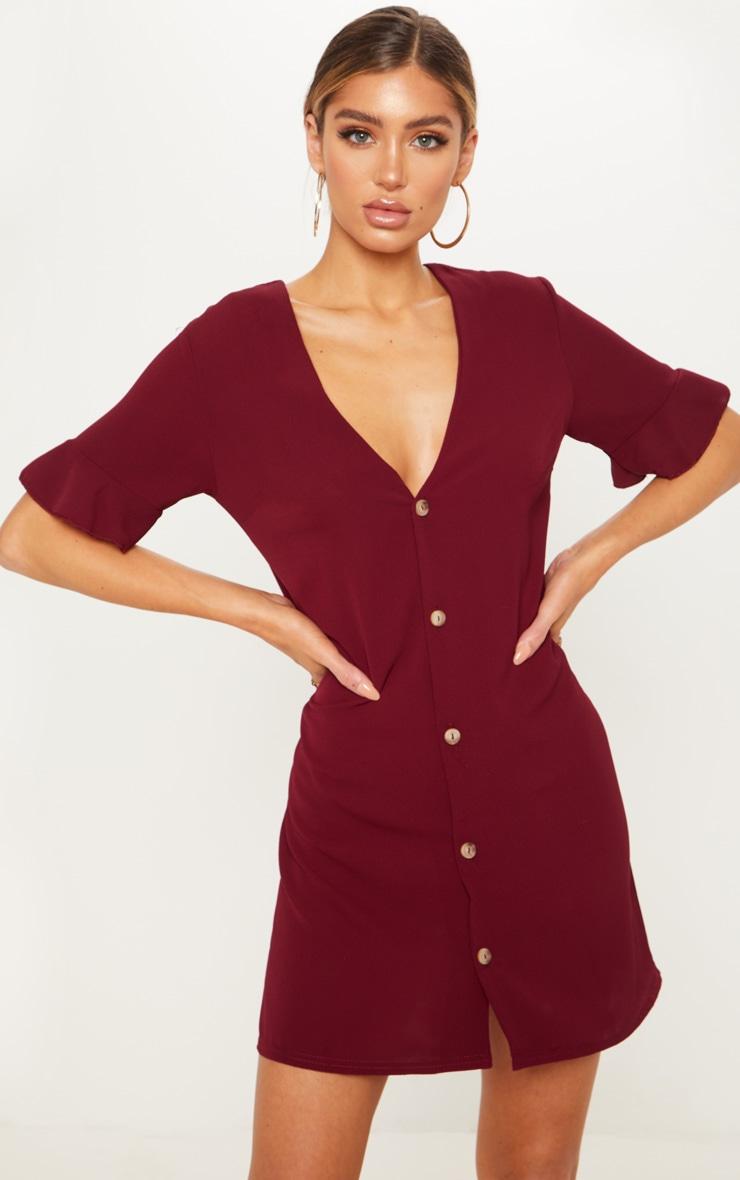 6f89526195fc Burgundy Oversized Button Front Shirt Dress image 1