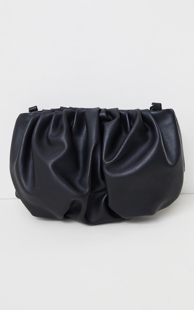 Black Round Pleated Clutch Bag 2