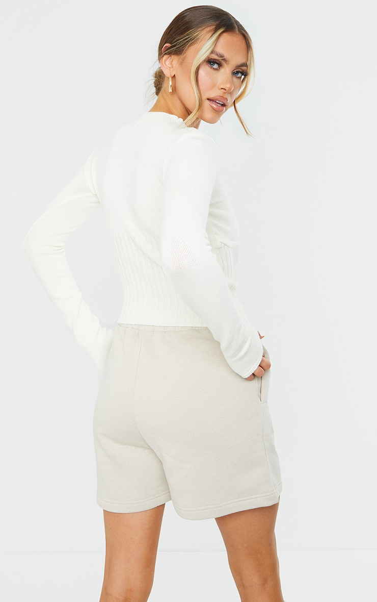 Cream Ribbed Underbust Long Sleeve Sweater 2
