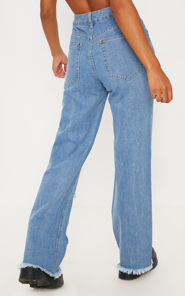 Mid Wash Extreme Rip Wide Leg Jeans 4