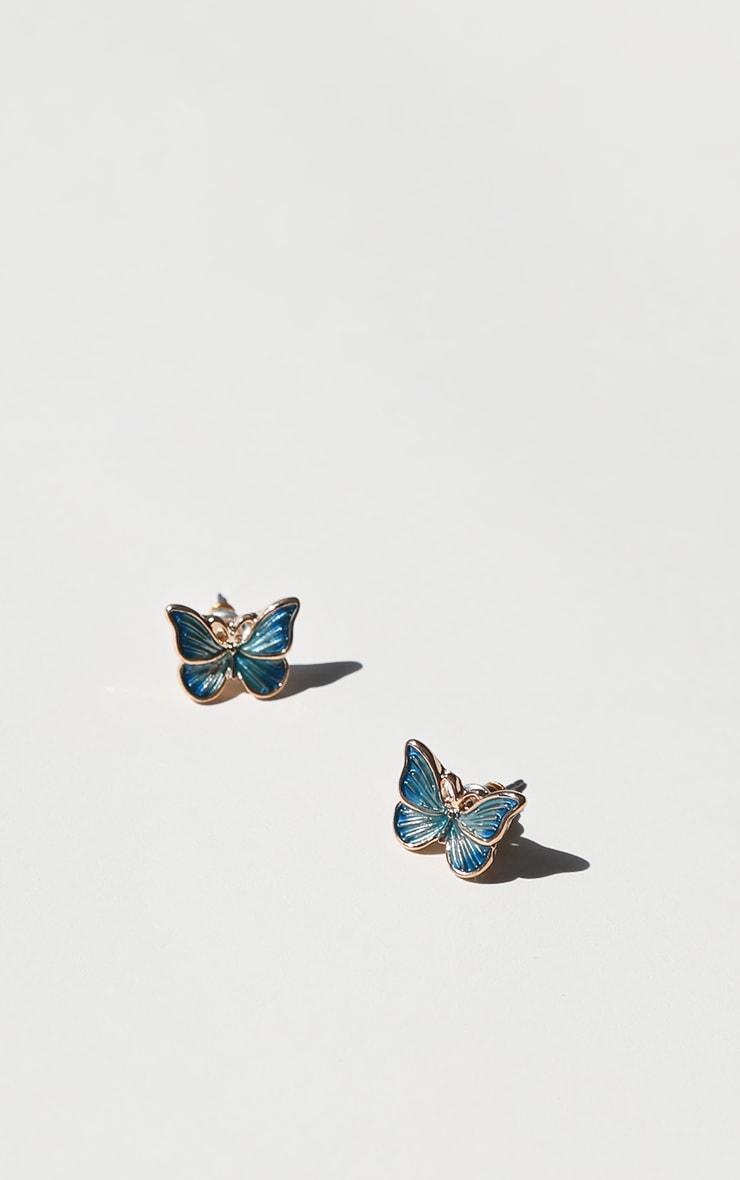 Blue Butterfly Stud Earrings 2