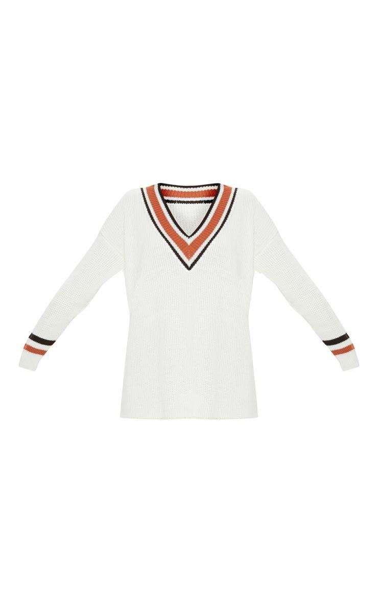Cream Oversized Varsity Knitted Jumper  3