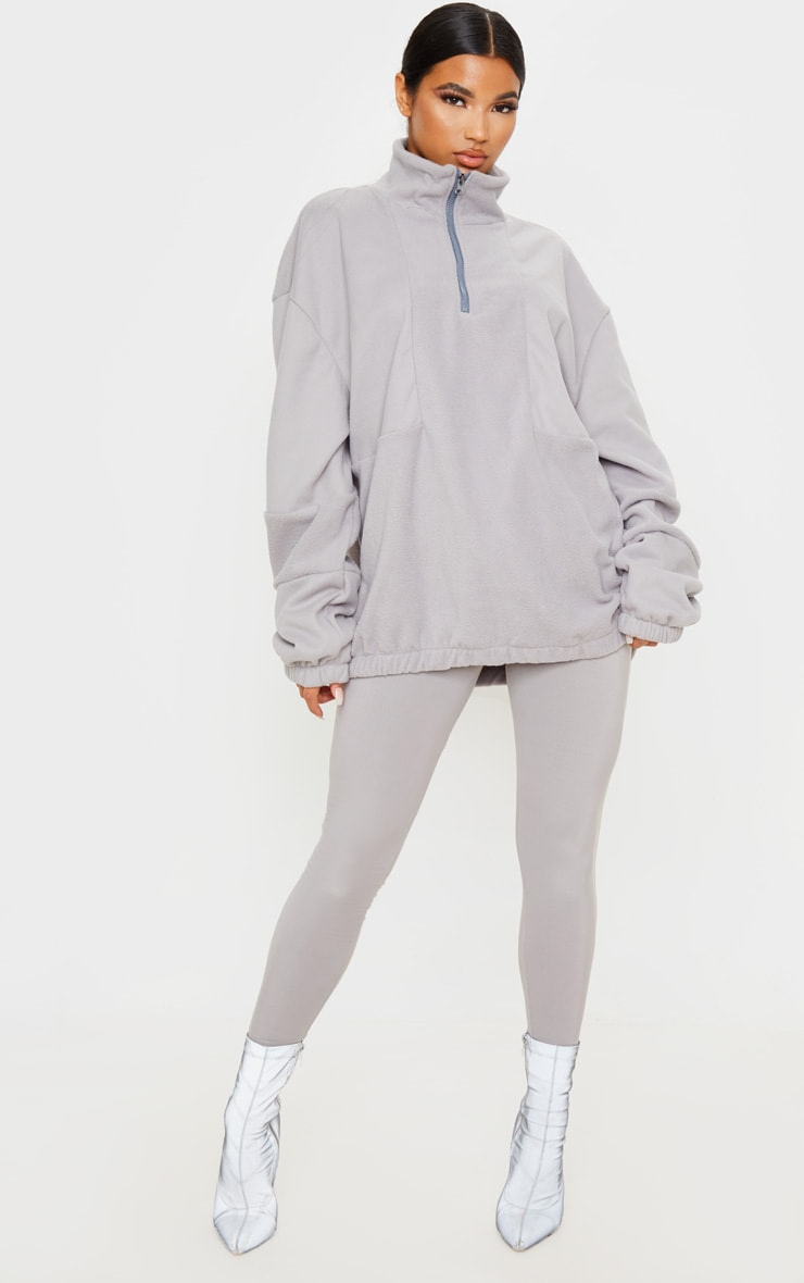 Grey Fleece Zip Front Oversized Sweater 4