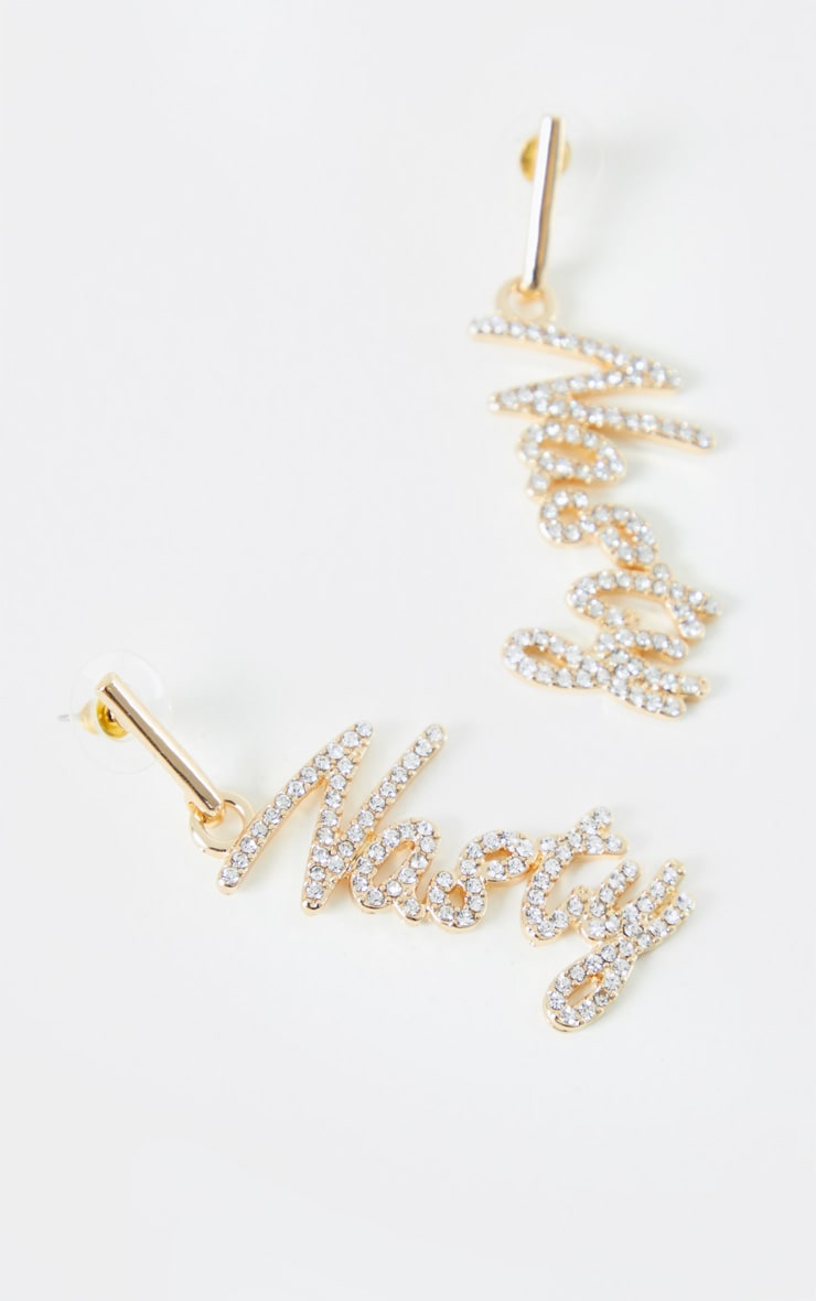 Gold Diamante Nasty Drop Earrings 3
