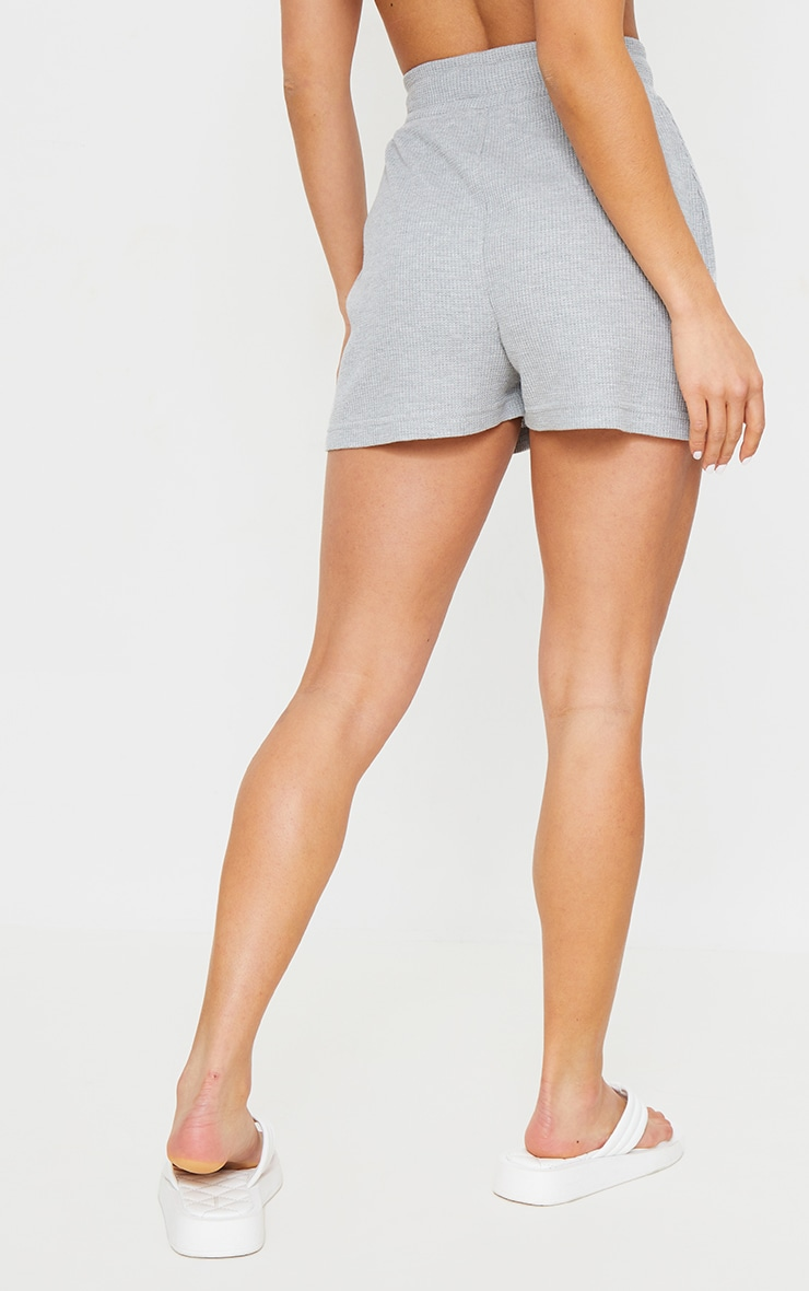 Petite Grey Waffle Slogan Detail Sweat Shorts 3