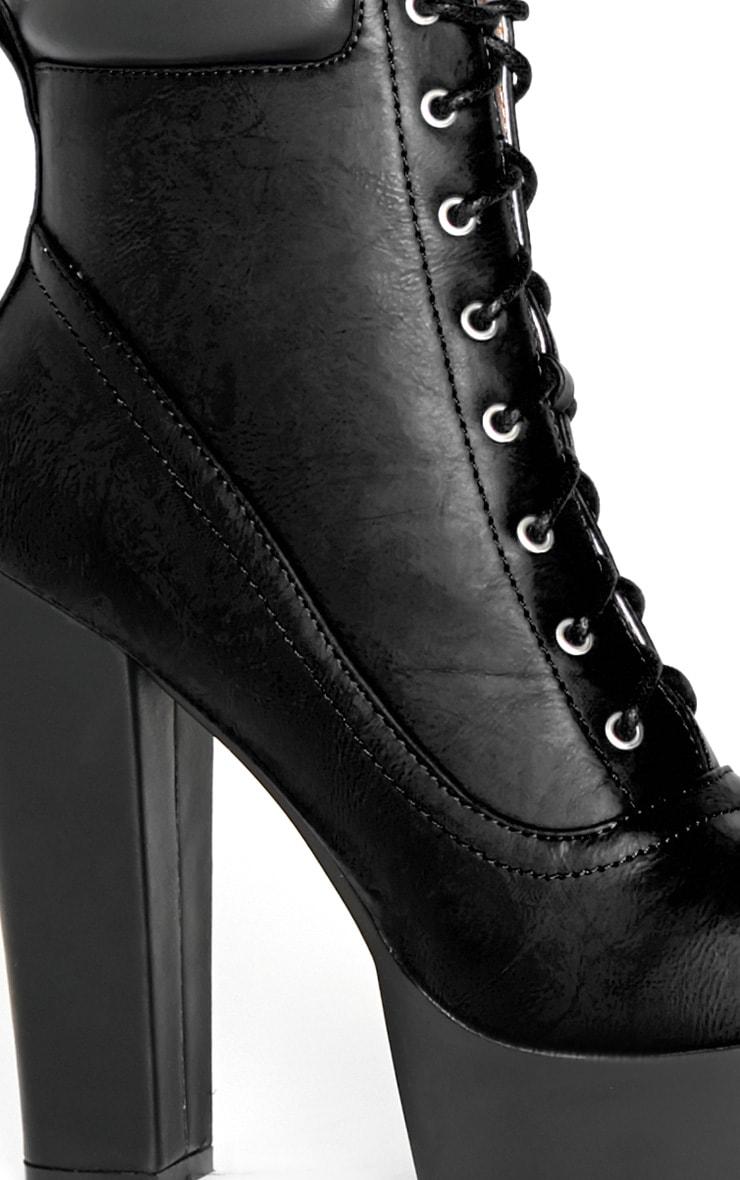 Anusha Black Lace Cleated Sole Platform Boot 3