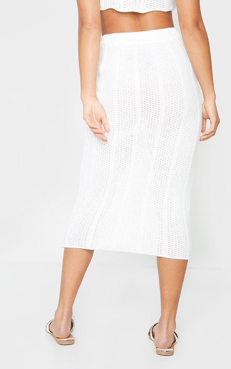 Petite White Pearl Knit Midi Skirt 3
