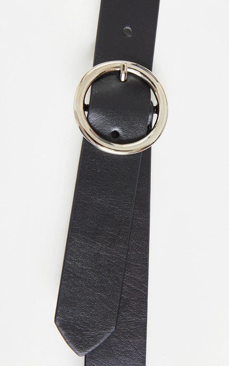 Black Basic Circle Buckle Belt 3