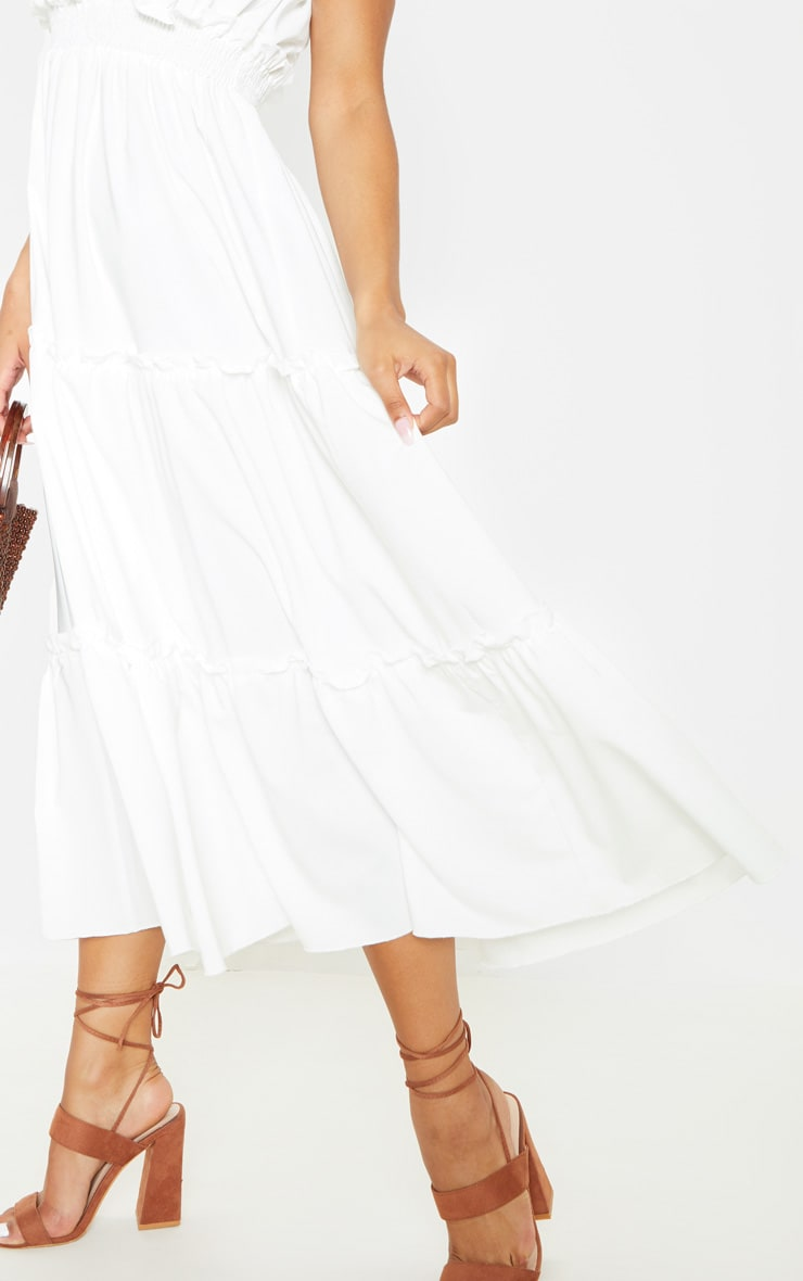White Shirred Frill Tiered Bandeau Maxi Dress 5