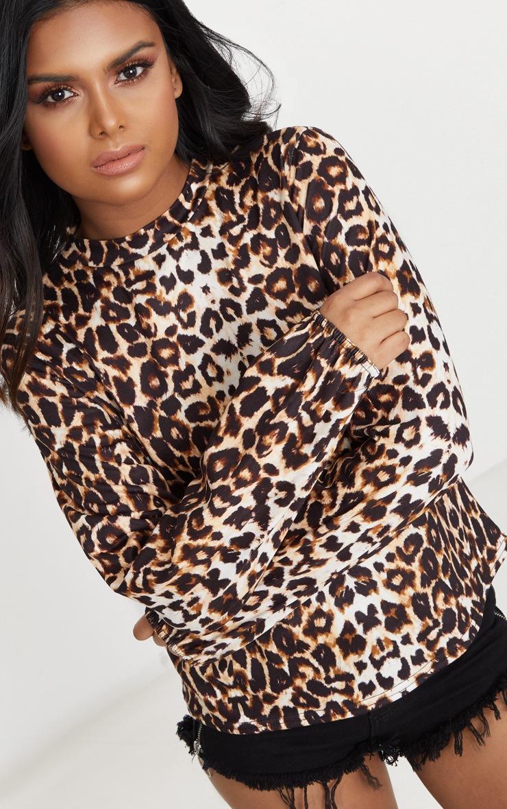 Petite Brown  High Neck Leopard Print Top 5