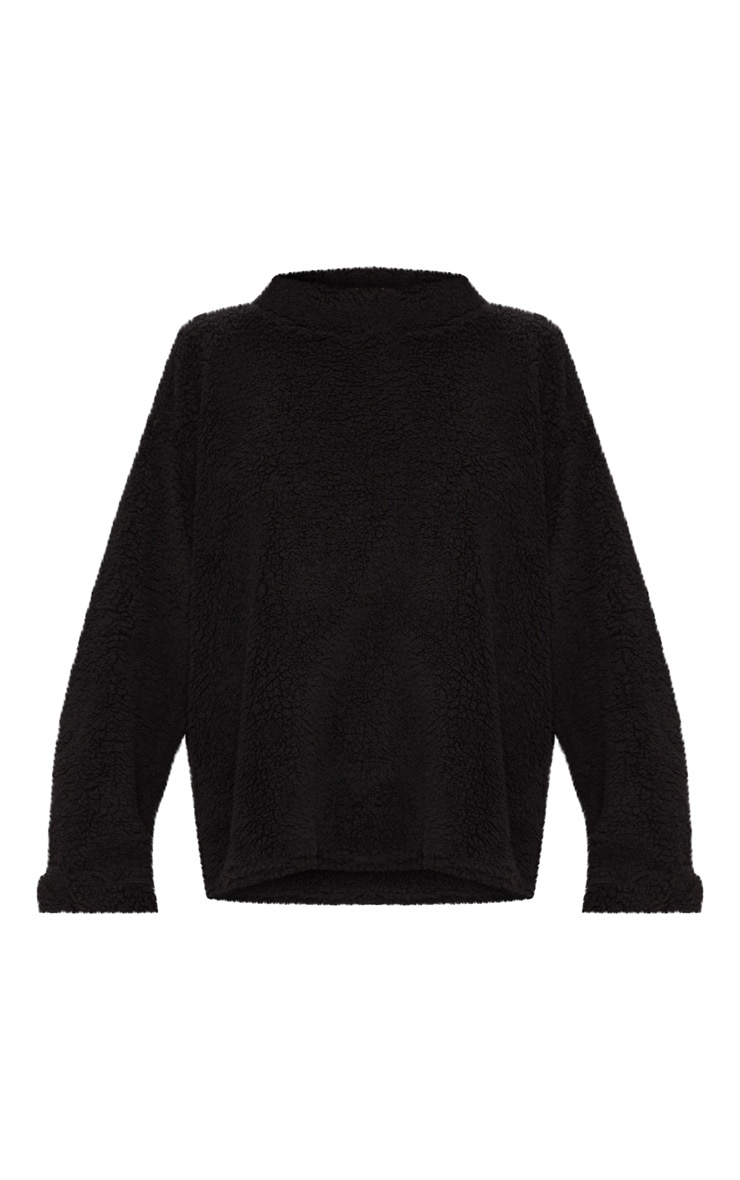 Black High Neck Borg Sweater 3