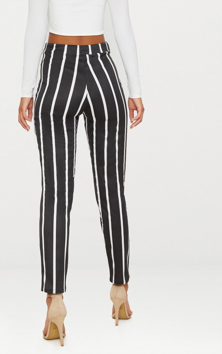 Black Monochrome Stripe Belted Cigarette Trouser 4