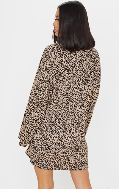 Beige Leopard Print Rib Roll Neck Flare Sleeve Jumper Dress