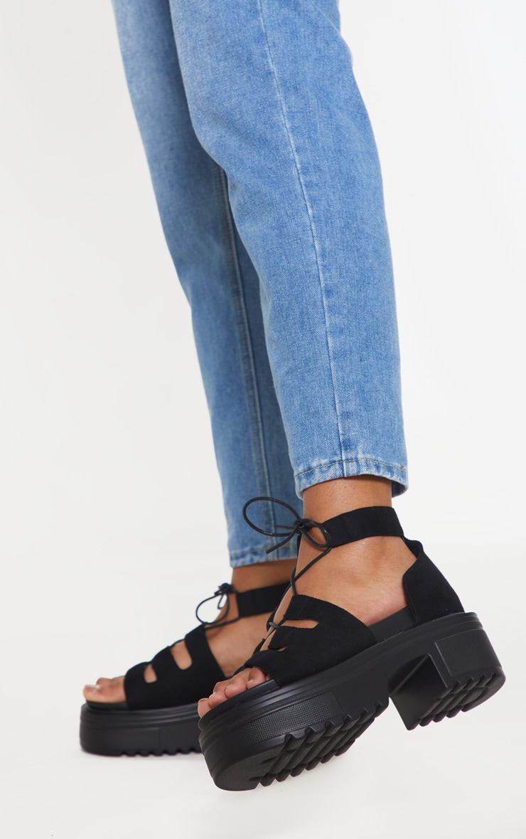 Black Chunky Ghillie Lace Up Sandal 2